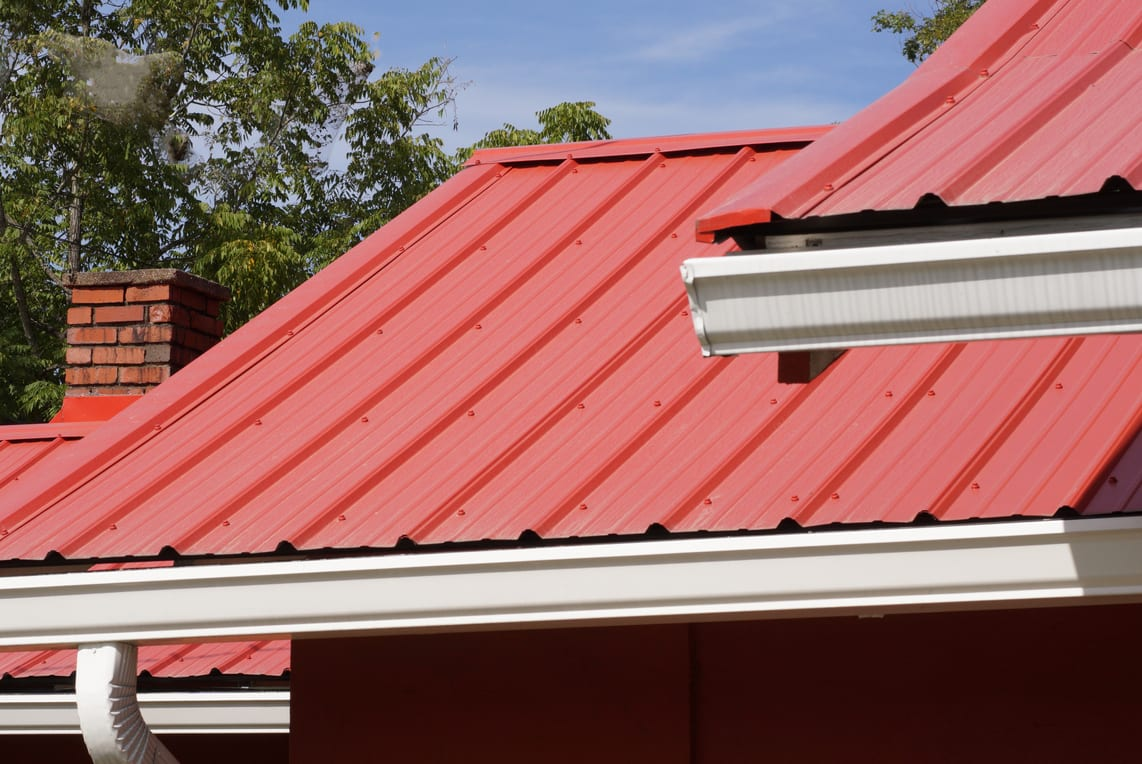 Red metal roof on home in Mechanicsburg PA.