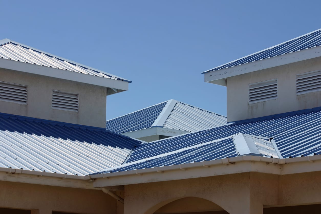 Blue metal roofing system in Camp Hill PA home.